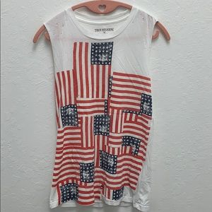 True Religion Distressed American Flag Shirt
